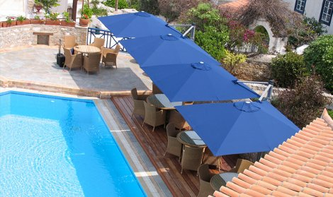 giant blue hotel umbrellas