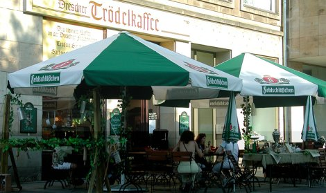 green and white cafe canopy